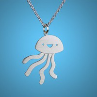 Happy Jellyfish Necklace by marymaryhandmade on Etsy