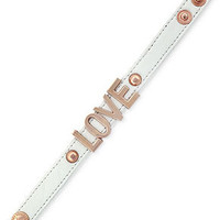 BCBGeneration Bracelet, Rose Gold-Tone White Leather Love Affirmation Bracelet - Fashion Jewelry - Jewelry & Watches - Macy's