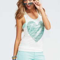 Mint Sequin Heart Tank