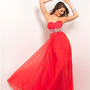 Persimmon Chiffon Strapless Rhinestone Empire Waist Prom Dress - Unique Vintage - Prom dresses, retro dresses, retro swimsuits.