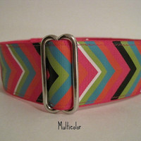 Chevron Martingale Collar, Chevron Dog Collar, Hot Pink, Multicolor, Turquoise, Blue, Wide Dog Collar