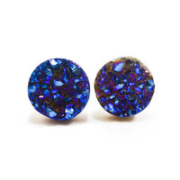 Cobalt Blue Flame Druzy Stud Earrings n57 by AstralEYE on Etsy