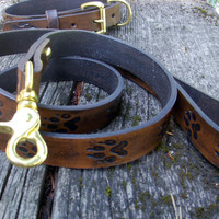 Leather dog collar and leash set - small, medium - engraved with wolf tracks