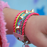 SS2013 Friendship bracelet cuff Spikes series  by OOAKjewelz
