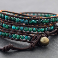Chrysocolla Brown Leather Wrap Bracelet by XtraVirgin on Etsy