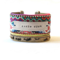 Friendship bracelet cuff with handstamped tag saying by OOAKjewelz