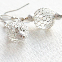 Sexy Glamorous Sterling Silver Earrings, Fine Jewelry, Dangle Earrings, Drop Earrings, Wire Wrapped Cage Balls, Stardust Wedding Grad Party