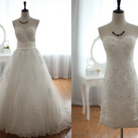 Lace Tulle Wedding Dress 2-1 Detachable Skirt Beaded Beading Knee length Short Lace Dress Strapless Sweetheart Dress
