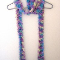 Confetti Colored Striped Faux Fur Fashion Boa Skinny Scarf Knitted