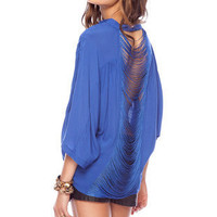 Hold the Fringes Button Down Shirt in Blue :: tobi