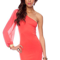 One Shoulder Chiffon Dress in Coral :: tobi
