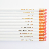 Art Movements Pencils - White & Gold, Set of 12