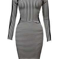 Black &amp; White Stripe Dress with Mesh Panel Detail