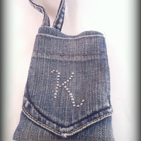 Custom iPhone recycled denim carrier with handle by TwoSisters2Sis