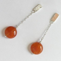 Short Dangle Cornelian Earrings - Sterling Silver Chain Earrings - Orange Earrings - Post Earrings - Summer Colors