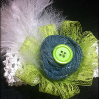 Easter Headband White Feather Lime Lace Recycled by TwoSisters2Sis