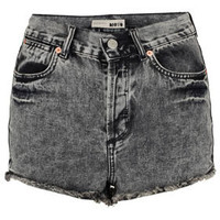 MOTO Black Acid Denim Hotpants - Denim  - Clothing