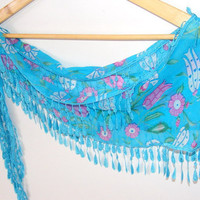 fashion scarves,scarf trends,cotton,blue scarf,gift,for her,Turkish scarf,Yemeni fabric,colorful,Cowl Scarf with Lace Edge,mothers day gifts