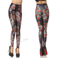 Cool Tameless Rose And Skeleton Mix Color Printing Leggings Pant from Galaxy Leggings