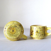 Yellow and Gold Ceramic Coffee Cups  Eclectic Hand by CasaAndCo