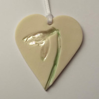 Porcelain Heart Hanging Decoration With Snowdrop - House Warming Gift