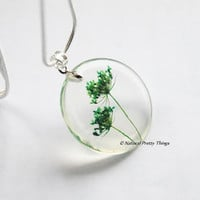 Real Flower Necklace Green Queen Anne&#x27;s Lace Small Resin Jewelry Dandelion Firework Pendant 925 Silver Plated Nature