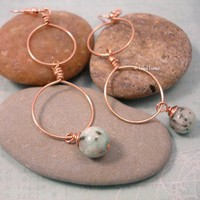 Handmade Copper Hoop Earrings with green Sesame Jasper gemstones