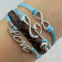 Musical Note Bracelet Infinity Karma Bracelet Love Bracelet Leather Braided Bracelet Personalized Charm Bracelet Gift-N1179