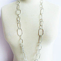 LAVISHY Multi matt silver long chain oval link necklace.