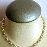 LAVISHY Multi matt silver oval link chain necklace.