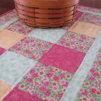 Table Runner, quilted in beautiful Spring colors or pink, yellow and green