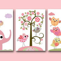"Art for Children Kids Wall Art Baby Girl Room Decor Baby Girl Nursery Decor Nursery print set of 3 8""x10"" Print turtle owls decoration rose"