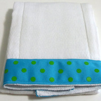 Baby Burp Cloth  Blue with Green Dots