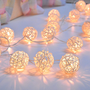 White Rattan ball string lights for Patio,Wedding,Party and Decoration (20 bulbs)