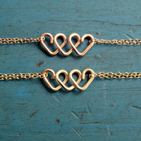 Infinite Love Heart Infinity Bracelet Rose Gold or Gold Friendship Bracelet Bridesmaid Jewelry Best Friends Gift Sisters Bracelet