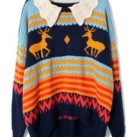 Elk Strip Pattern Sweater with Wave Collar in Navy