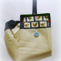 Fabric Plastic Bag Holder/ Grocery Bag Holder/ Chickens/ Cream/Denim