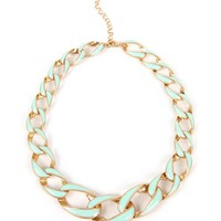 Gold/Mint Chain Link Necklace