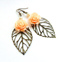 Spring Flower Earrings, Pale Coral Peach and Pearl,  Leaf Earrings, dangle earrings, rose primitive nature earrings