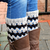 Gray Black Short Knit Boot Cuffs. Chevron Short Leg Warmers. Crochet Boot Cuffs.