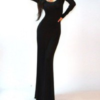 Sexy Black Minimalist Backless Open Cutout Back Slip Jersey Long Maxi Dress S