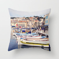 Boats in Cassis Harbor Throw Pillow by Around the Island (Robin Epstein) | Society6