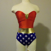 Wonder Woman bathing suit swimsuit xsXL made to order by meshalo
