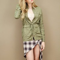 Lightweight linen army jacket in green with a drawstring waist. | shopcuffs.com