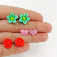 Stud Earrings Set / Flower, Heart, Rose / Red Pink Mint / Resin Floral Posts / Surgical Steel