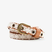 Crochet Overlay Faux Leather Belt