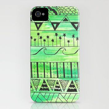 Green Doodle Pattern iPhone Case by Kayla Gordon | Society6