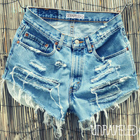 High Wasted Shorts SMALLMEDIUM by UnraveledClothing on Etsy