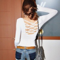 New Casual White Ladies Sexy Crew Neck Long Sleeve Cross Open Back T-Shirt US 6