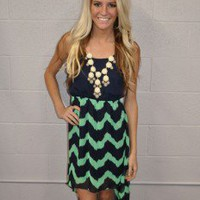 Serena Blue/Green High Low dress